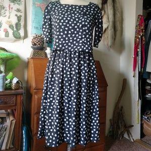 VINTAGE B&W Polka Dot Layered Dress